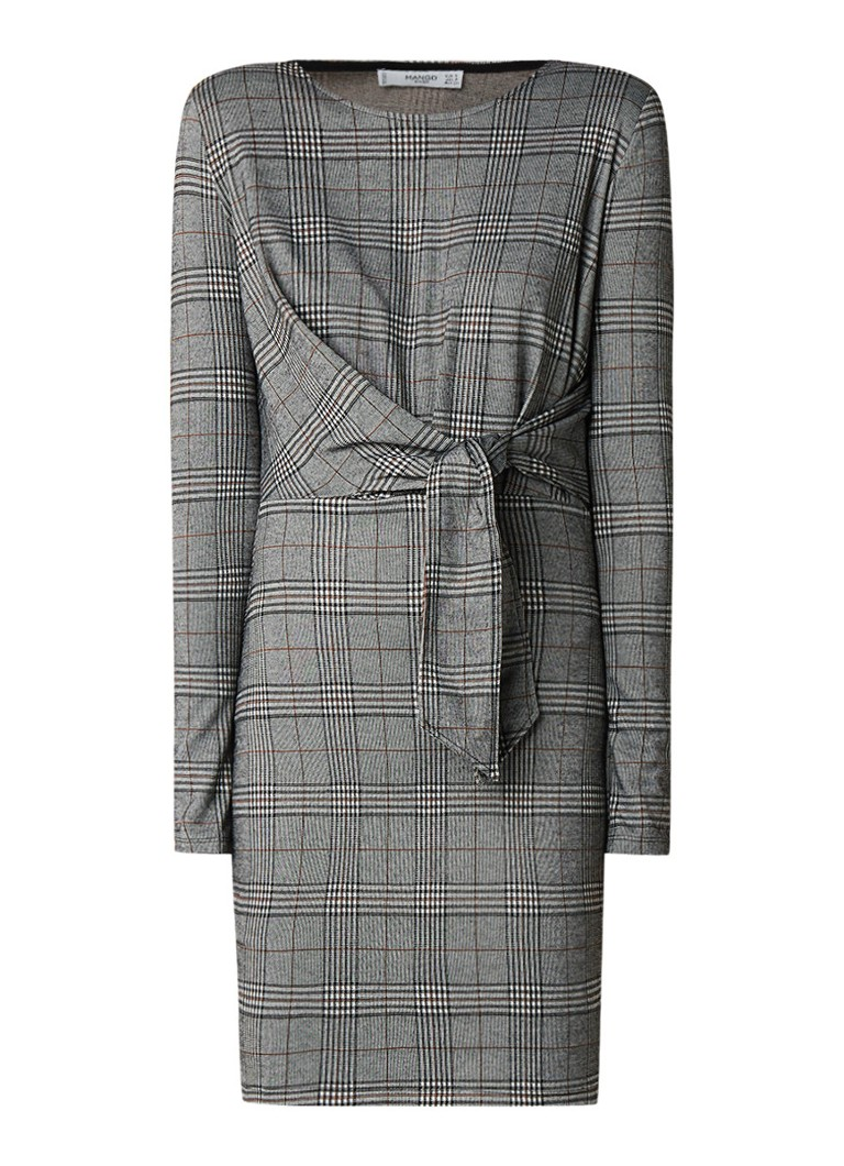 Mango Compi mini-jurk met ruitdessin en strikdetail grijs