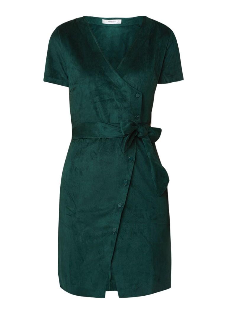 Mango Nina midi-jurk met suèdine met strikceintuur donkergroen