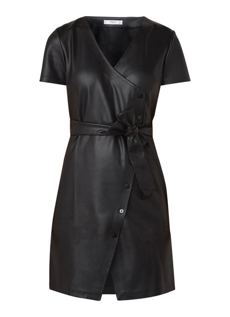 Mango Nina mini-jurk van imitatieleer met strikceintuur zwart