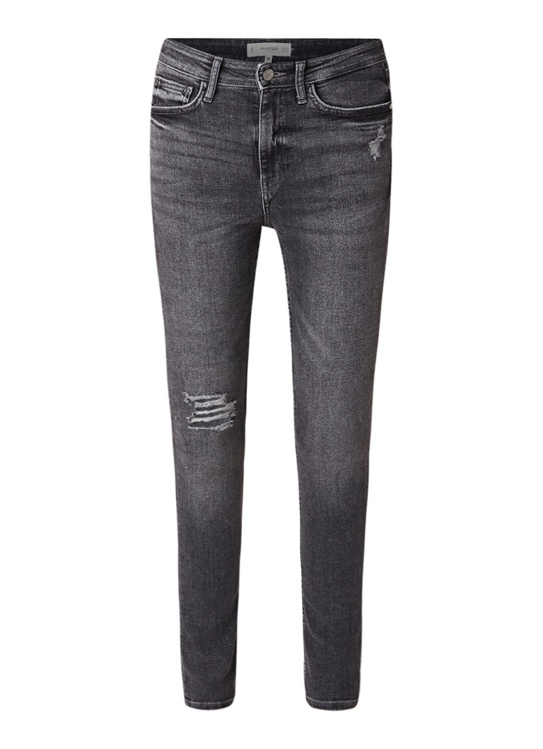 MANGO Soho high rise skinny jeans met destroyed afwerking