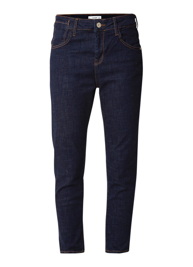 MANGO Jack mid rise cropped relaxed fit jeans met donkere wassing