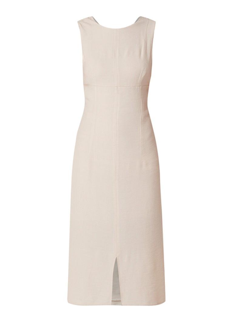 Mango Ele jurk met cut-outs en micro wafelstructuur beige