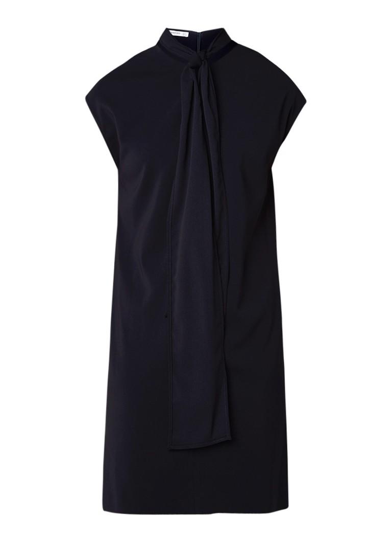 Mango Ben loose fit midi-jurk met strikkraag donkerblauw