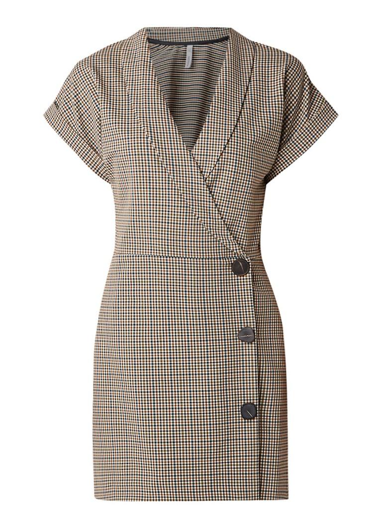 Mango Cuadro mini-jurk in blazerlook met geruit dessin bruin