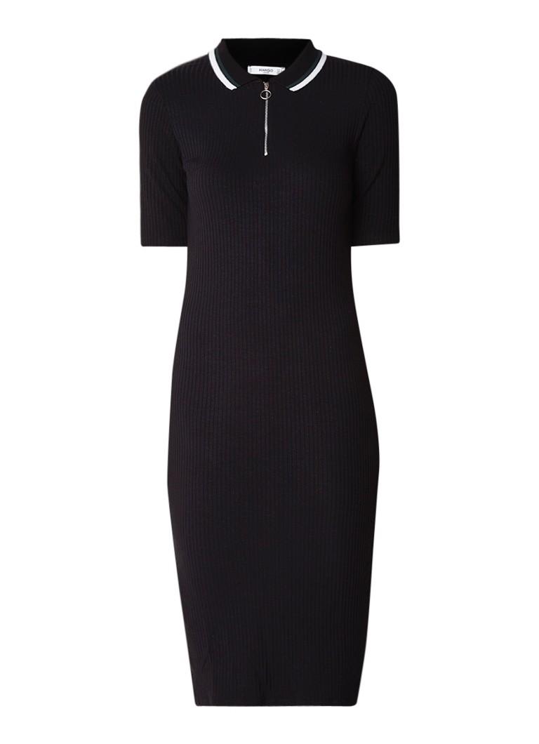 Mango Rivesti geribde midi-jurk met halve rits zwart