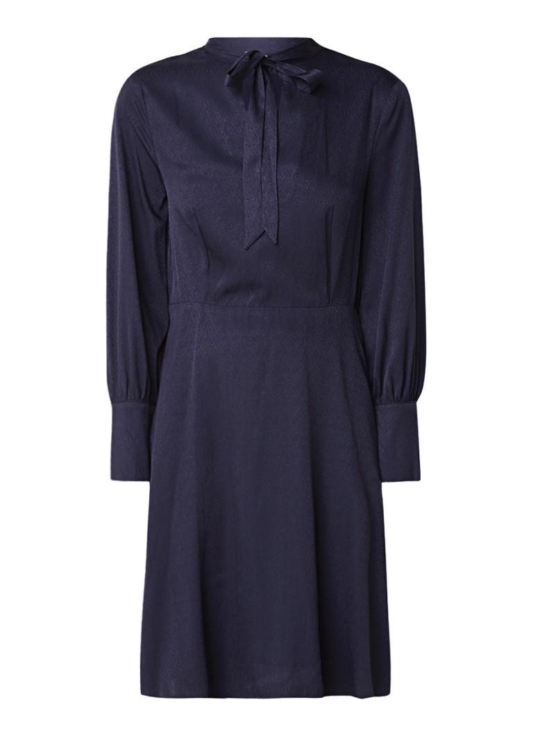 Mango Espiga A-lijn jurk met strikkraag donkerblauw