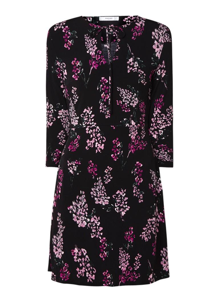 Mango Crosago midi-jurk van jersey met dessin paars