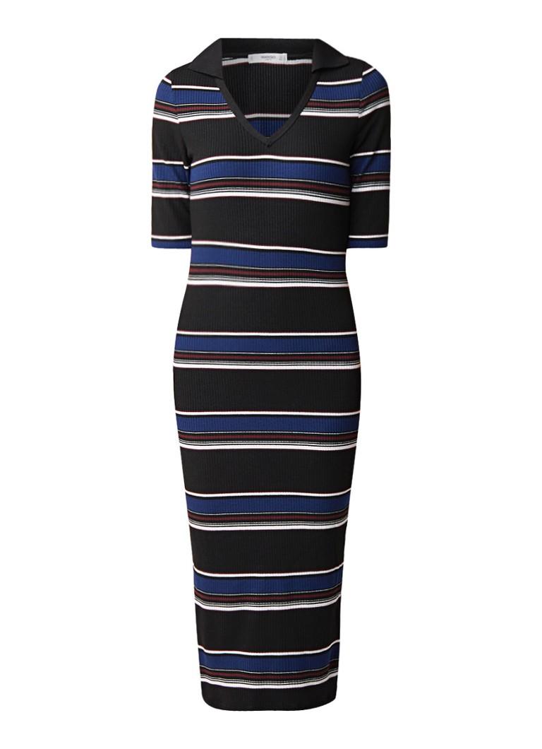 Mango Seven midi-jurk van ribjersey met streepdessin zwart