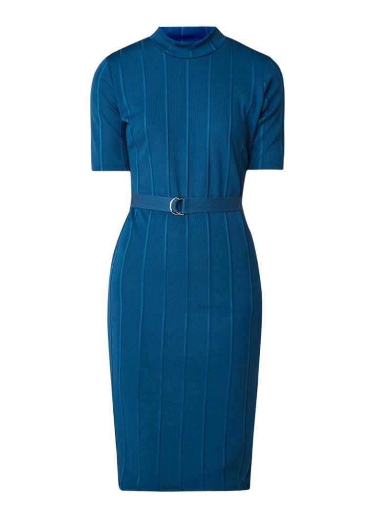 Mango Ribo ribgebreide midi-jurk met opstaande kraag en ceintuur royalblauw