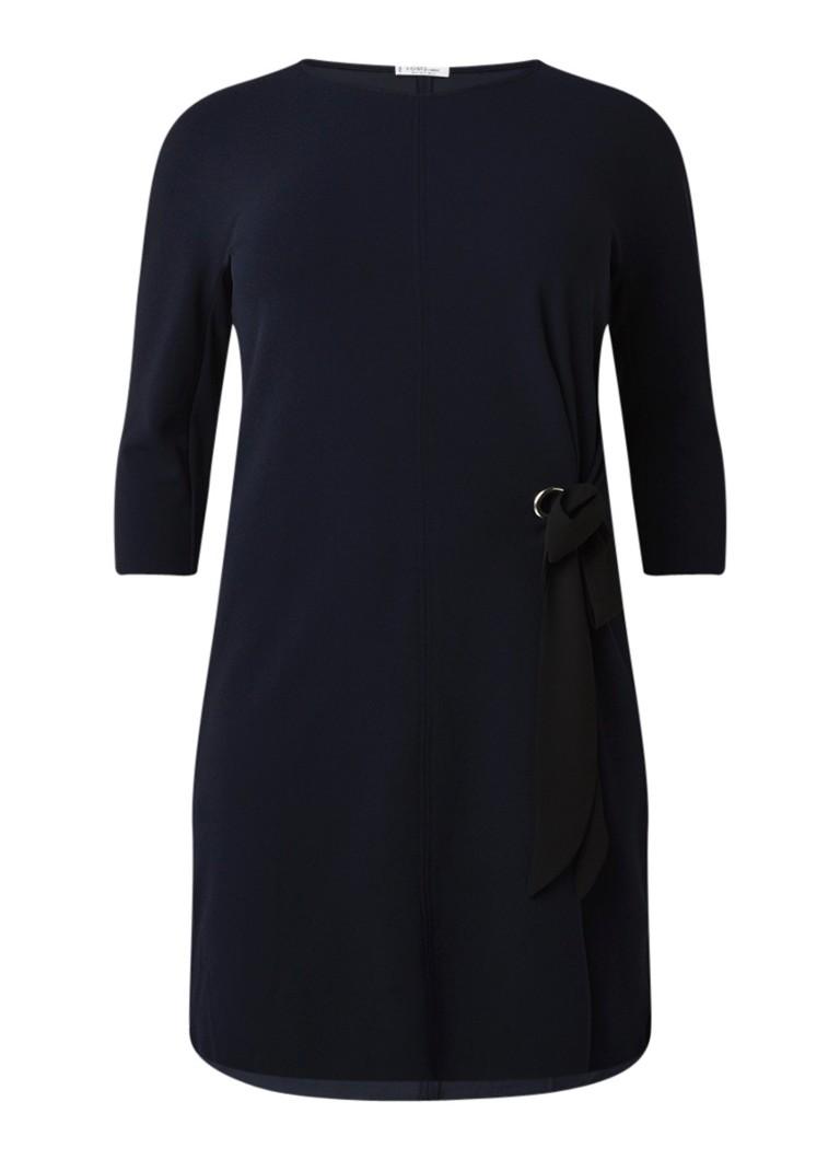 Mango Irene loose fit jurk met rijgdetail en driekwartmouw donkerblauw