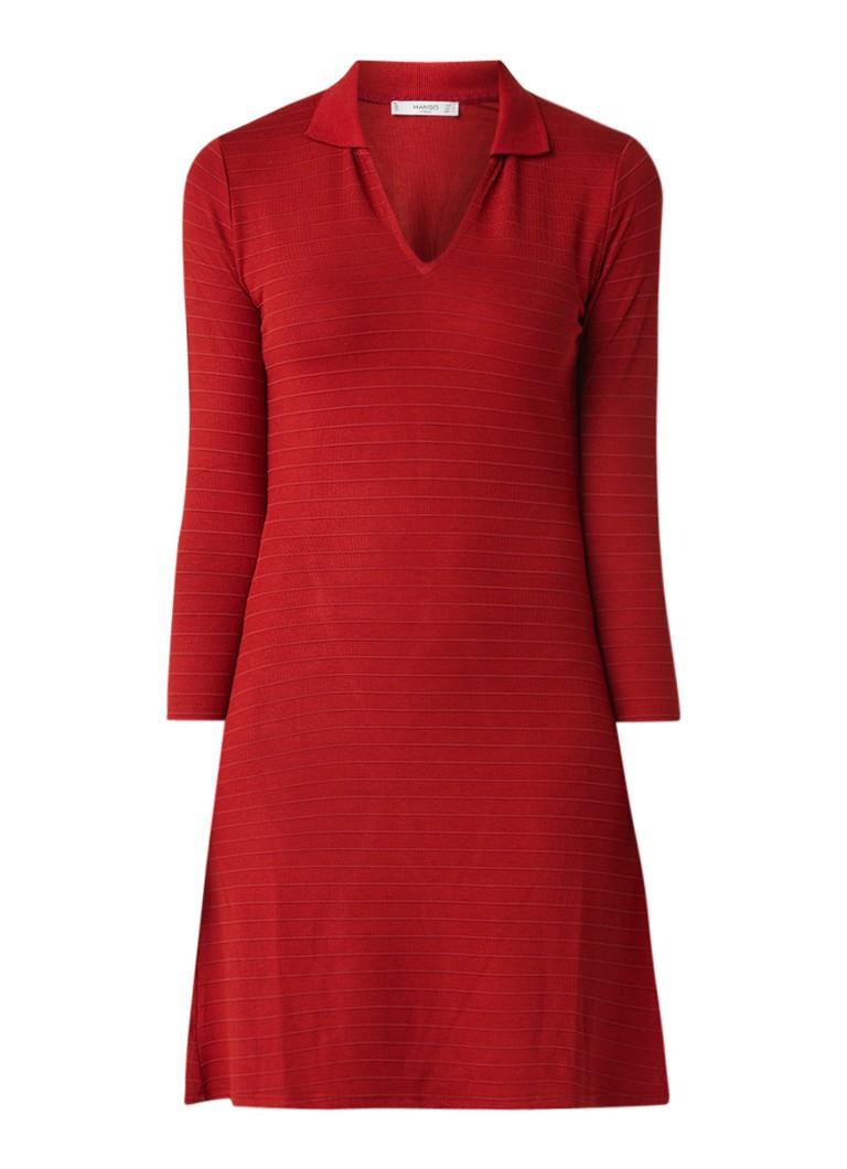 Mango Redford blousejurk met ingeweven streepdessin rood