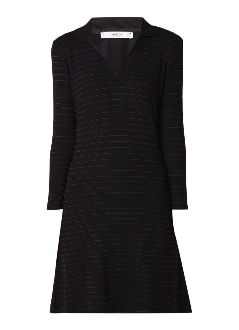 Mango Redford blousejurk met ingeweven streepdessin zwart