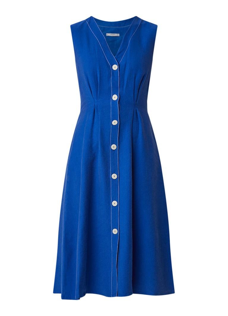 Mango Harmony midi blousejurk met structuur kobaltblauw