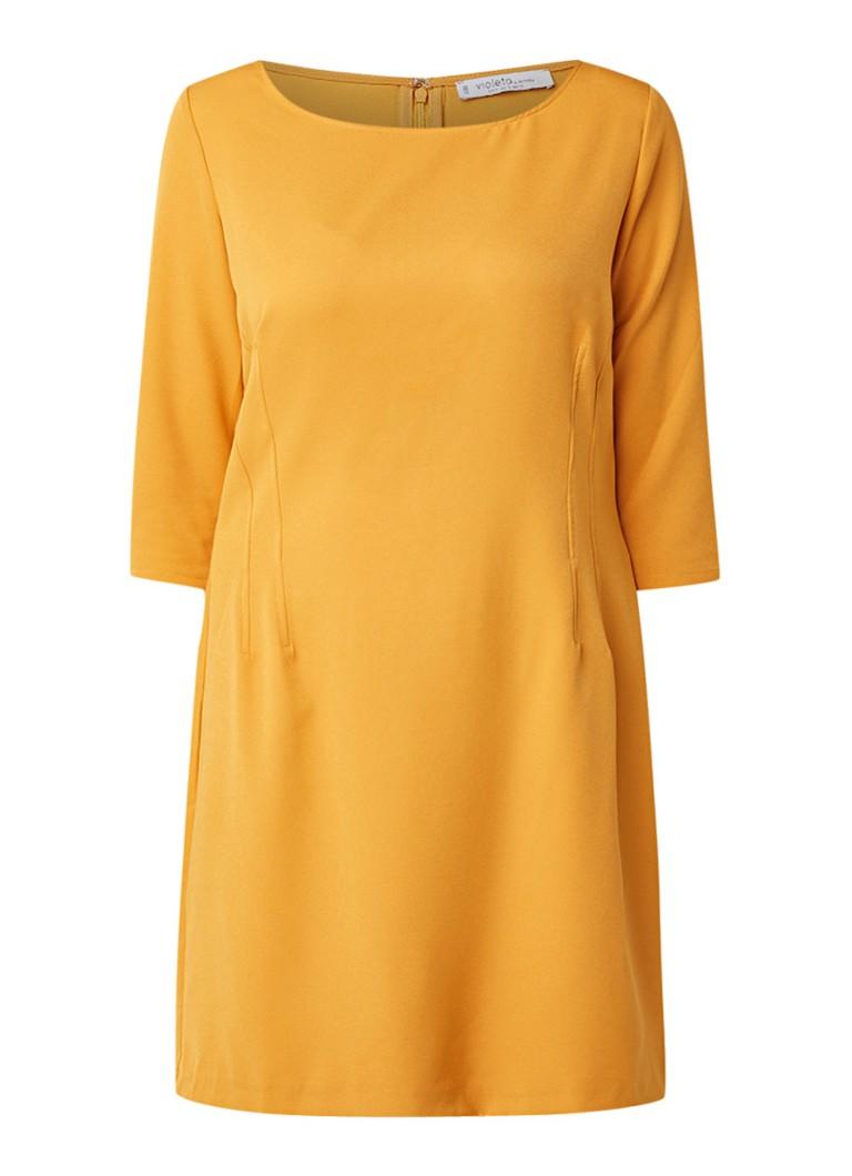 Mango Teoria loose fit midi-jurk met stretch okergeel