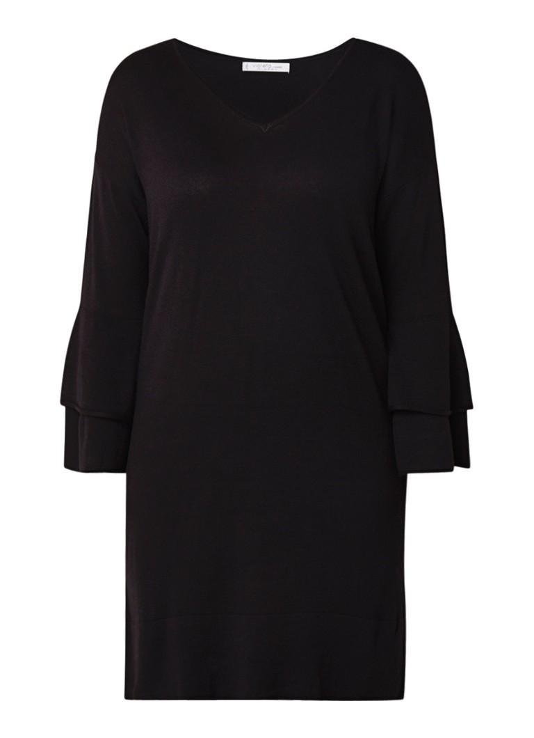 Mango Soho fijngebreide midi-jurk in wolblend met gelaagde mouw donkerrood