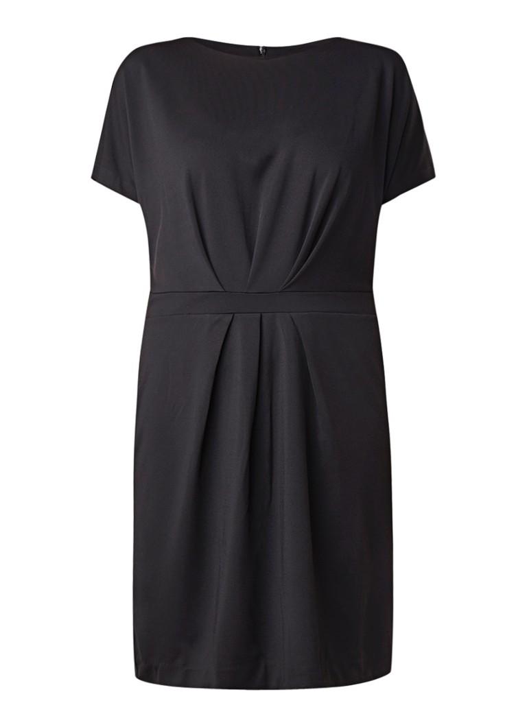 Mango Fino3 midi-jurk van jersey met gesmockt detail zwart