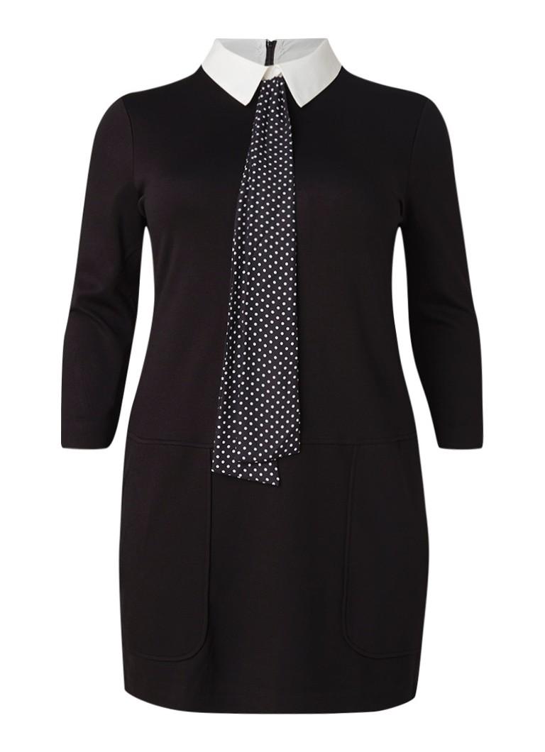 Mango Paola midi-jurk met contrastkraag en strikdetail zwart
