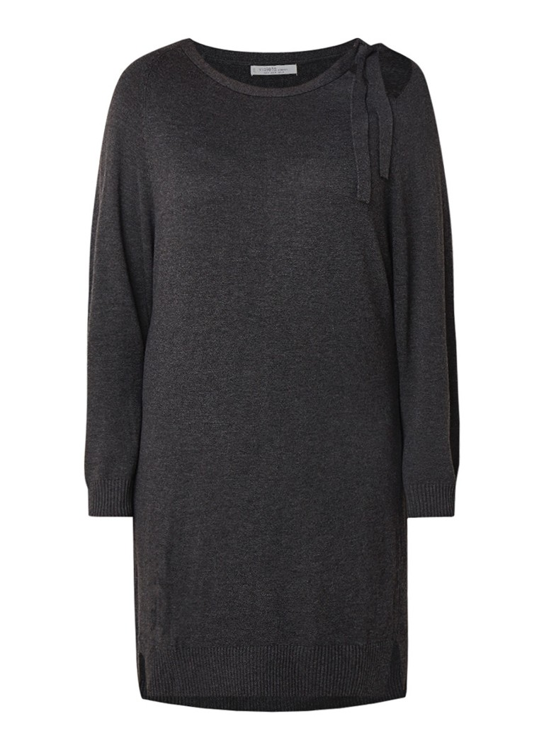 Mango Agora fijngebreide midi-jurk met strikdetail donkergrijs