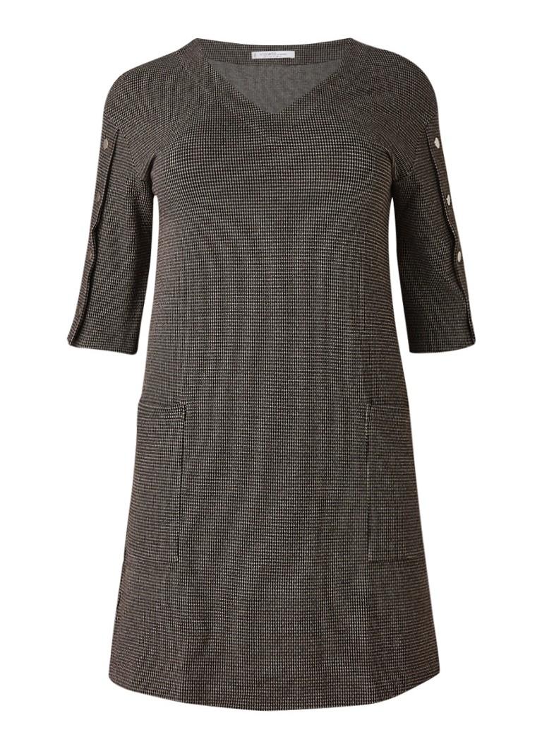 Mango Cosita midi-jurk met dessin en knopendetails zwart