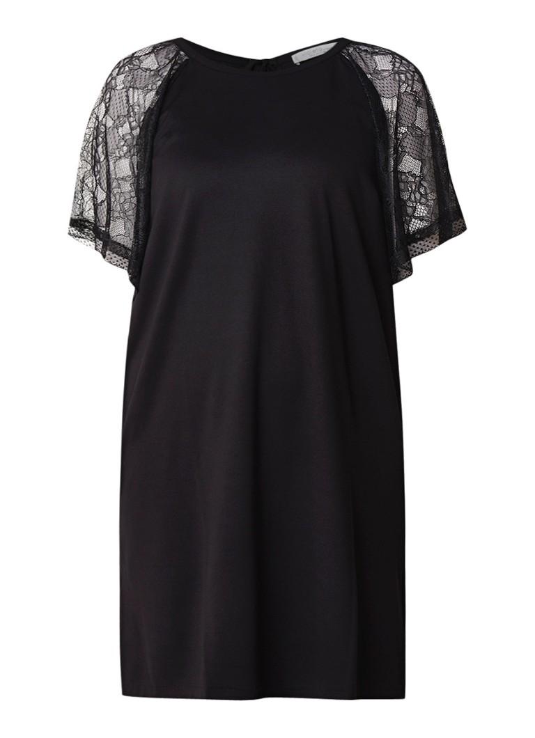 Mango Tina midi-jurk van jersey met mouwen van kant zwart