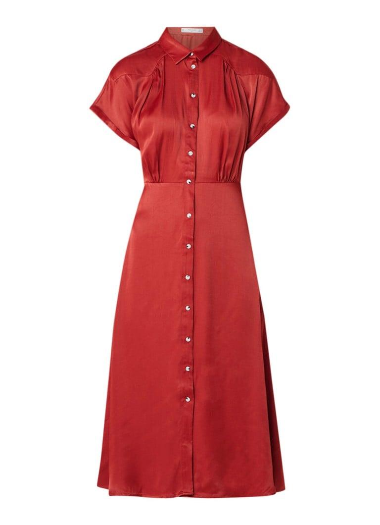 Mango Grenadin A-lijn jurk van satijn met plooidetail roodbruin