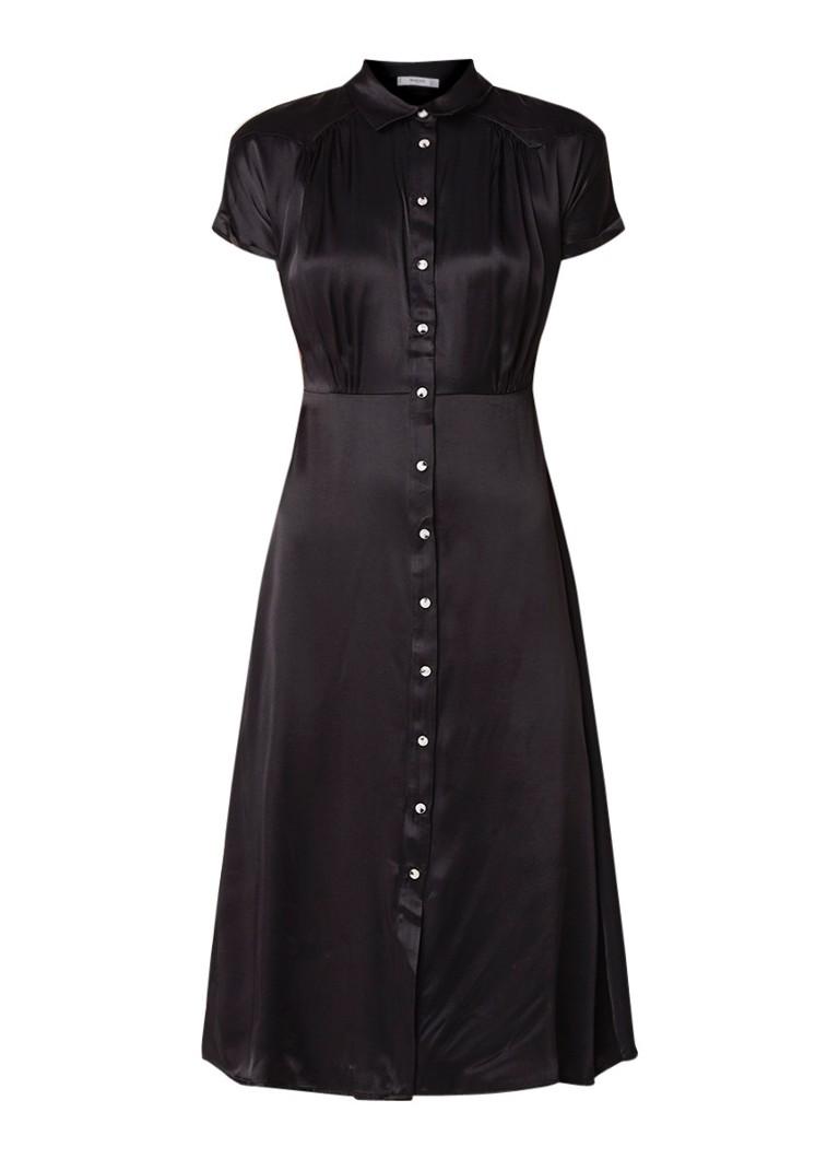 Mango Grenadin A-lijn jurk van satijn met plooidetail zwart