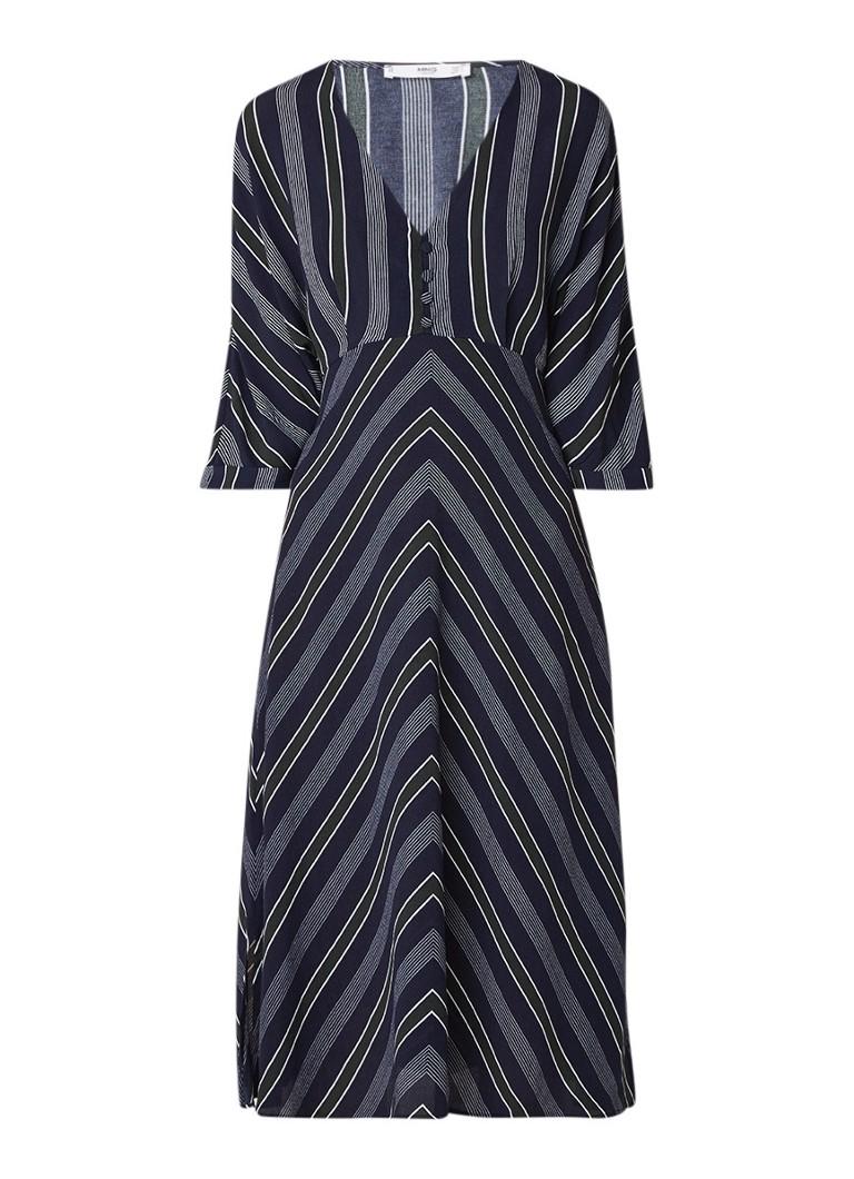 Mango Tuxedo blousejurk van crêpe met streepdessin donkerblauw