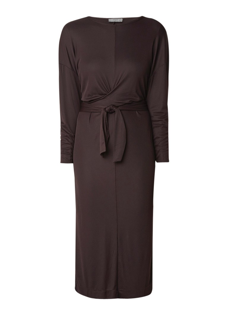 Mango Tis midi-jurk met geknoopt detail bruin