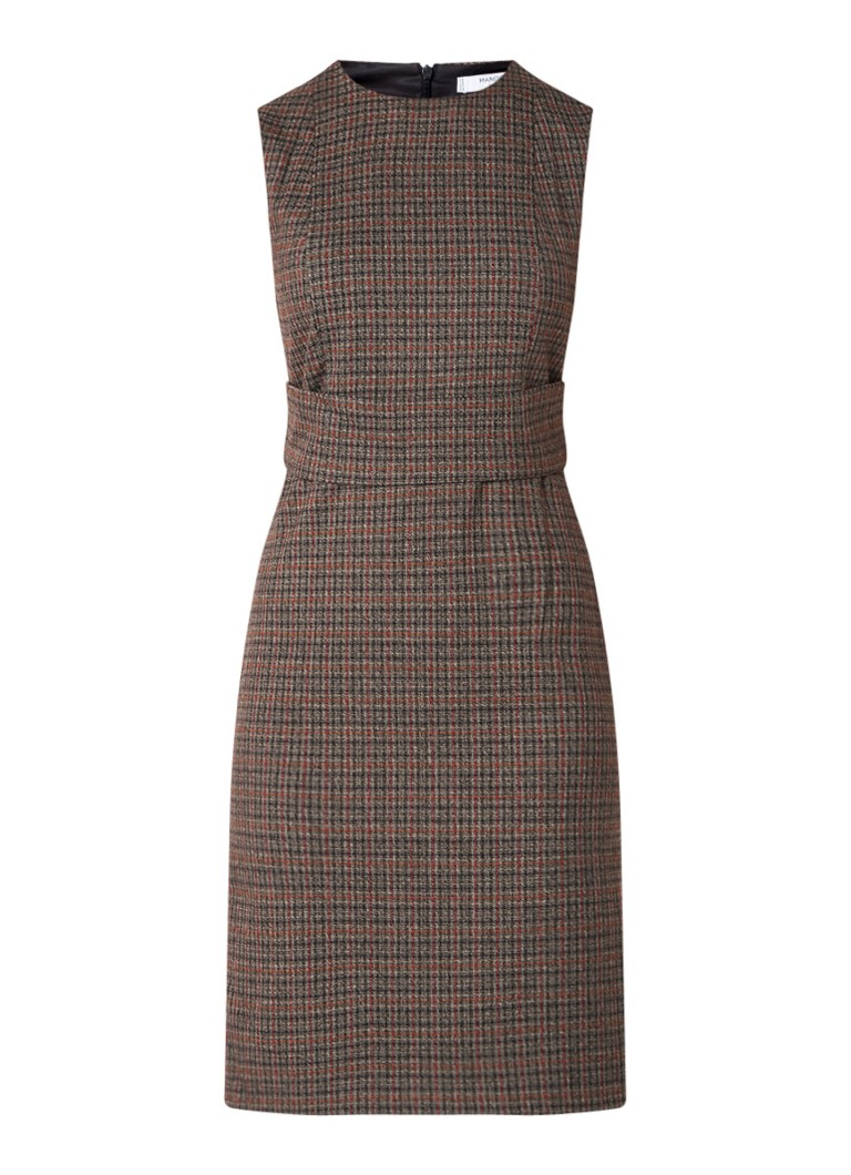 Mango Sima midi-jurk met ruitdessin bruin