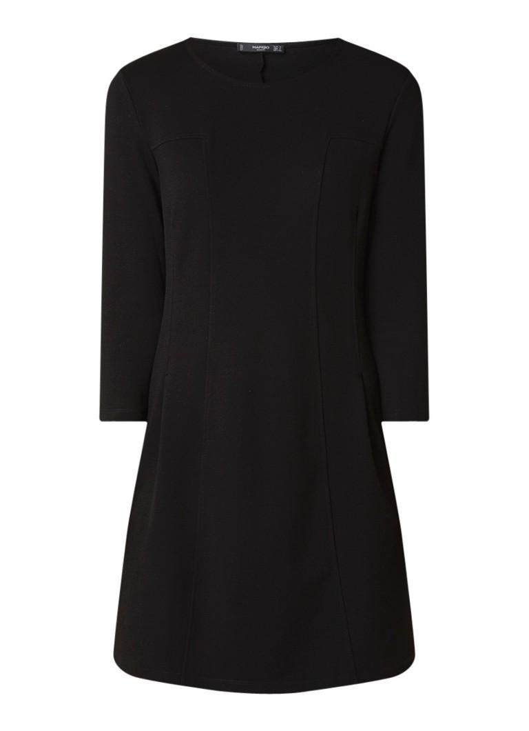 Mango Pique midi-jurk met driekwart mouw zwart