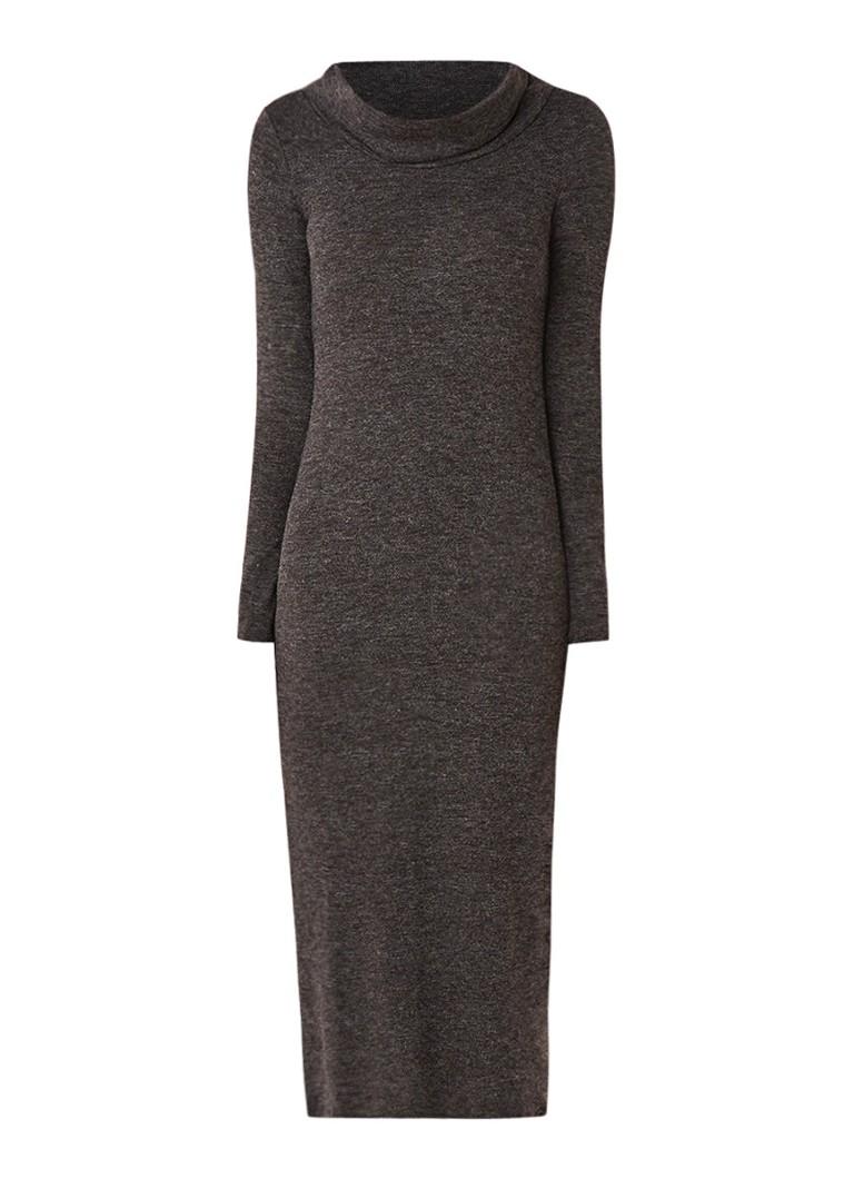 Mango Berovest fijngebreide maxi-jurk met zijsplit donkergrijs