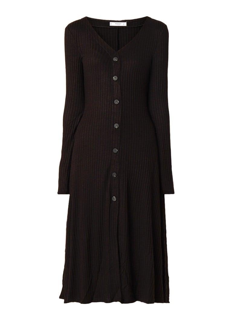Mango Dance A-lijn jurk van ribjersey zwart