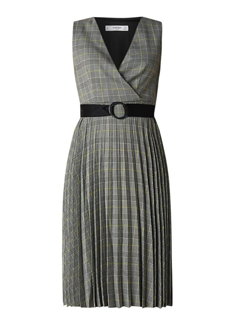Mango Story A-lijn jurk met ruitdessin en ceintuur lichtgrijs