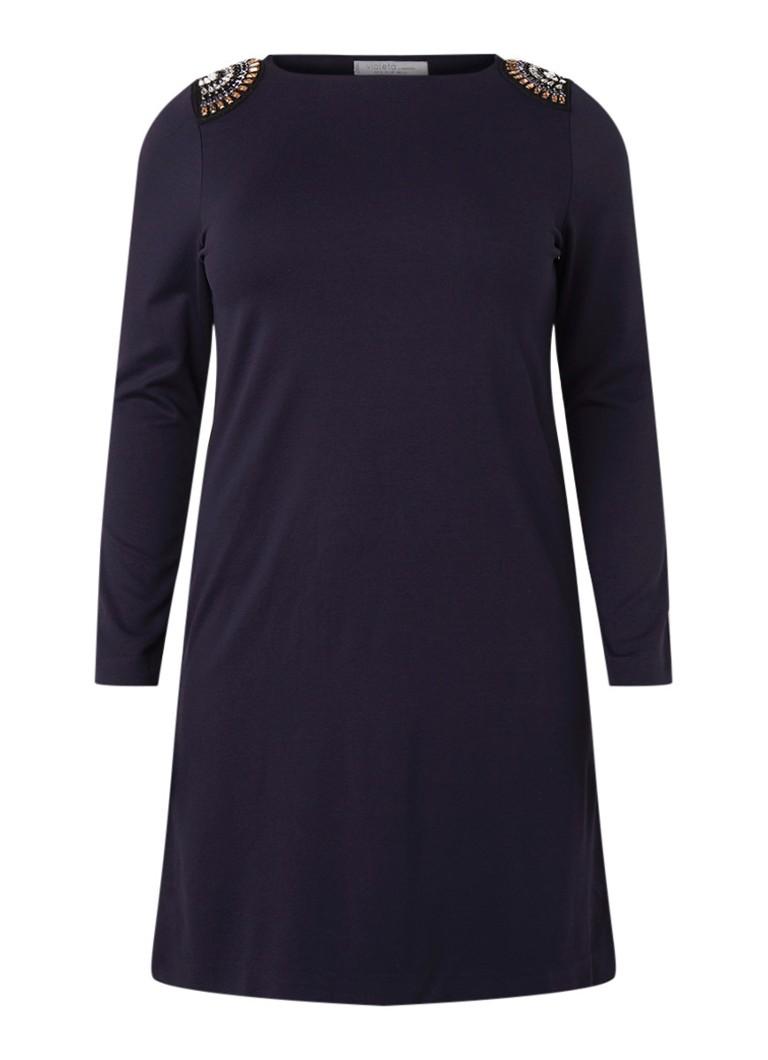 Mango Violeta midi-jurk met strass donkerblauw