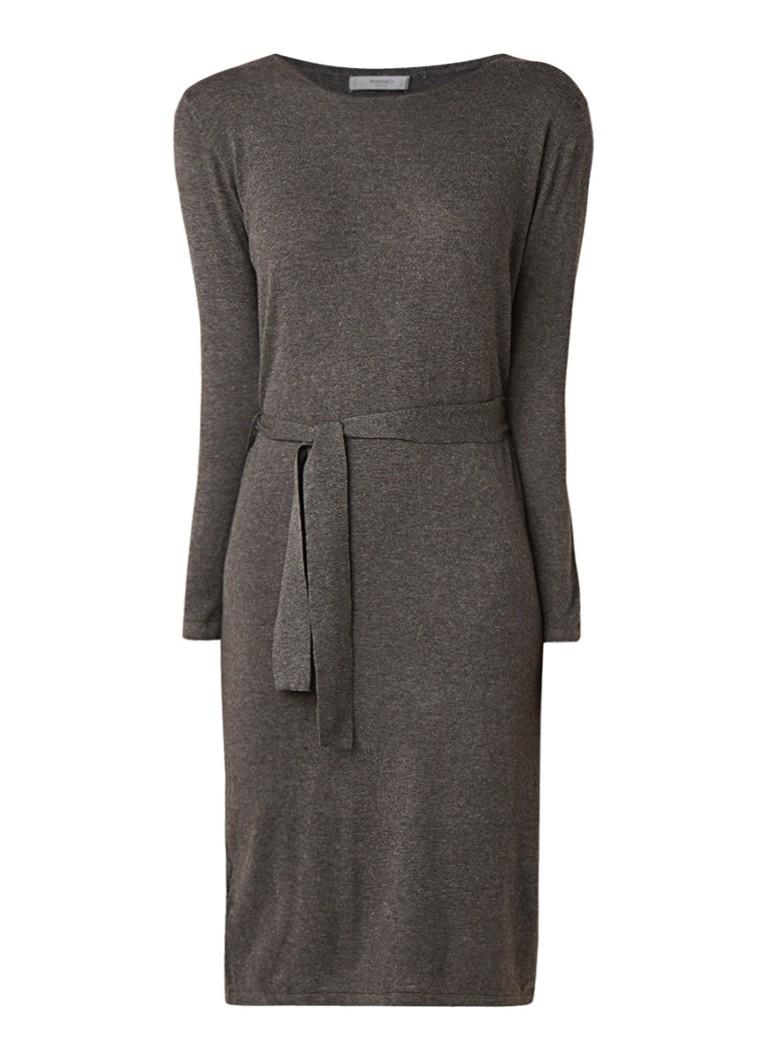 Mango Lazada fijngebreide midi-jurk met ceintuur donkergrijs