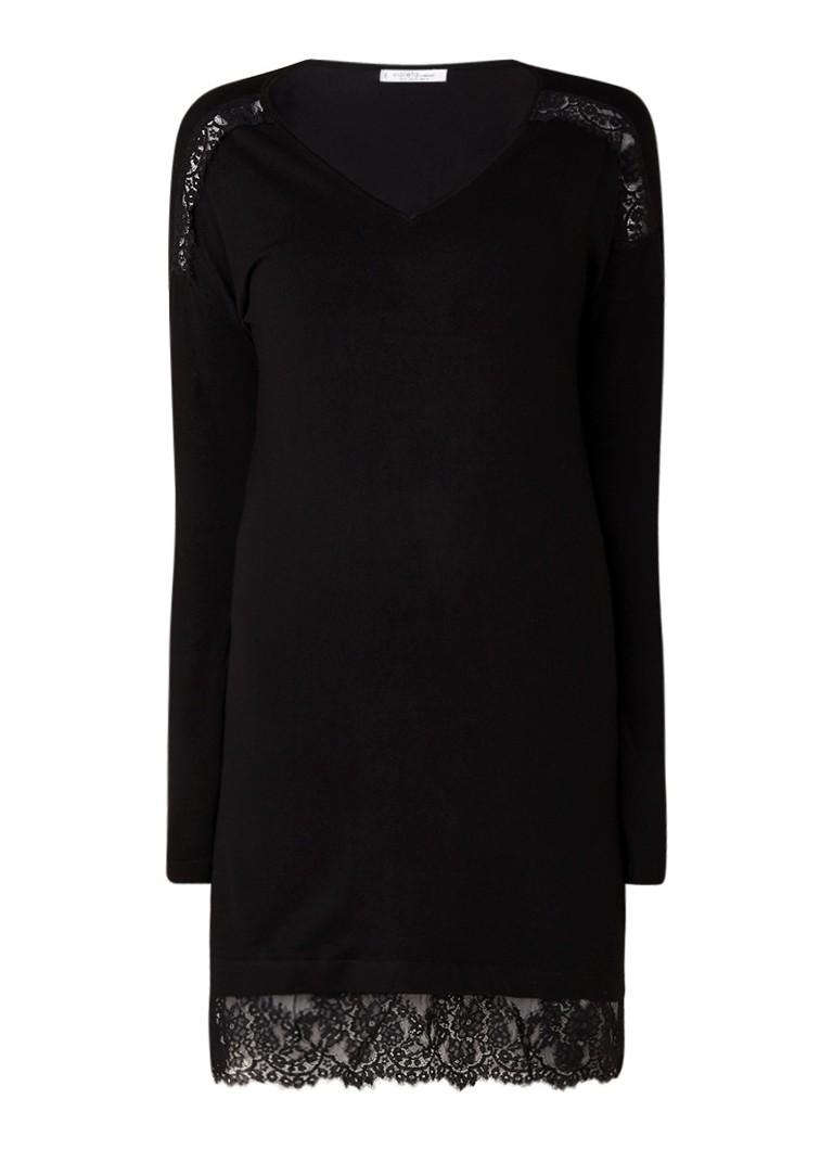 Mango Blonli gebreide jurk met zoom van kant zwart