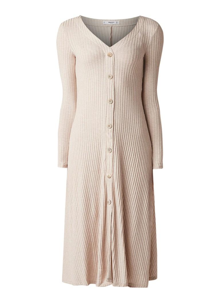 Mango Dance midi-jurk van ribjersey lichtbruin