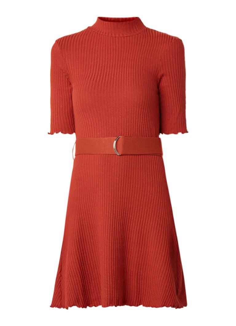 Mango Robert ribgebreide mini-jurk met ceintuur oranje