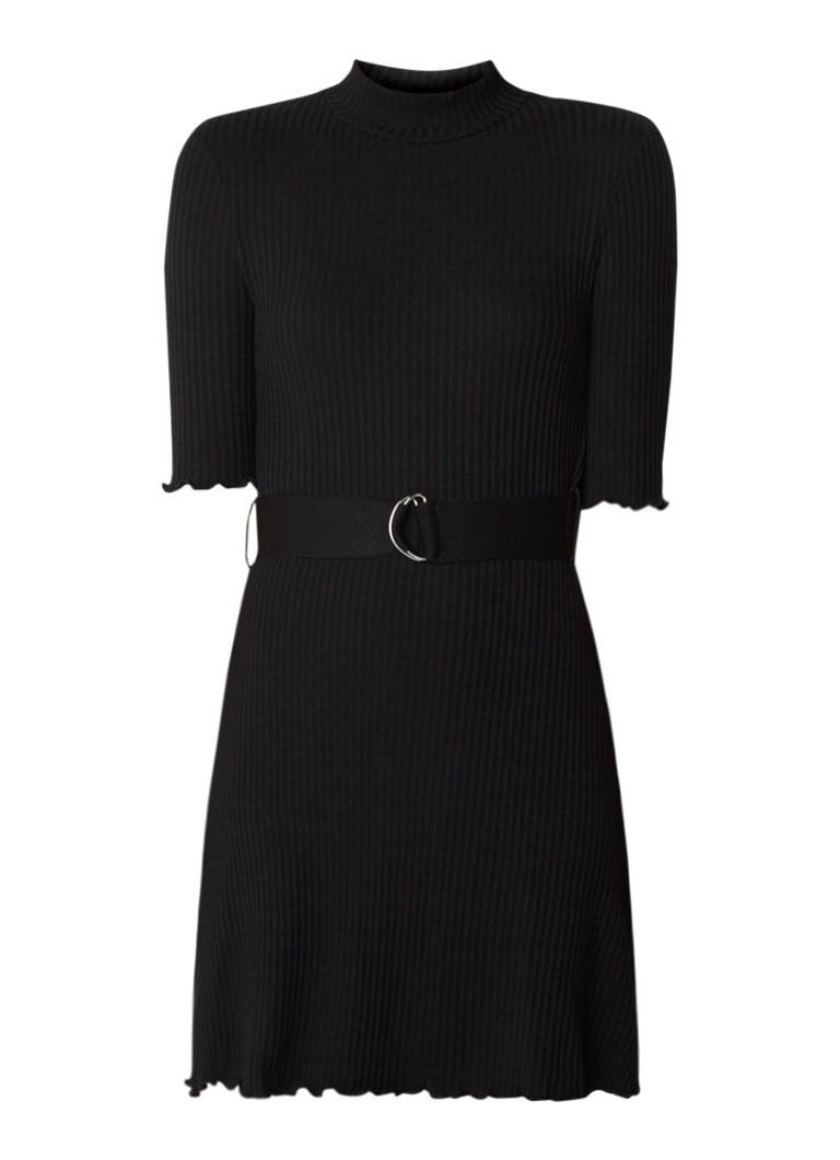 Mango Robert ribgebreide mini-jurk met ceintuur zwart