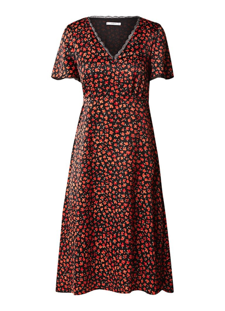 Mango Camelio A-lijn jurk van satijn met bloemendessin zwart