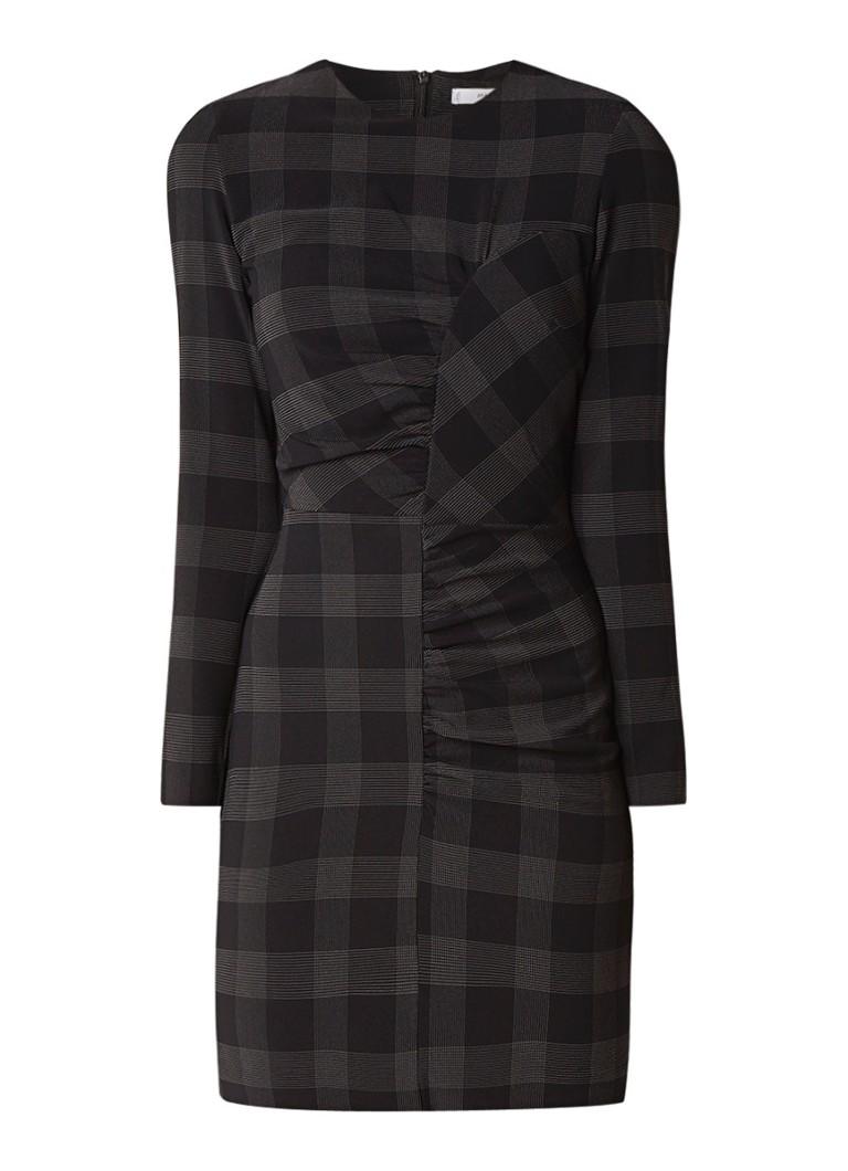 Mango Mar fitted jurk met ruches en ruitdessin zwart