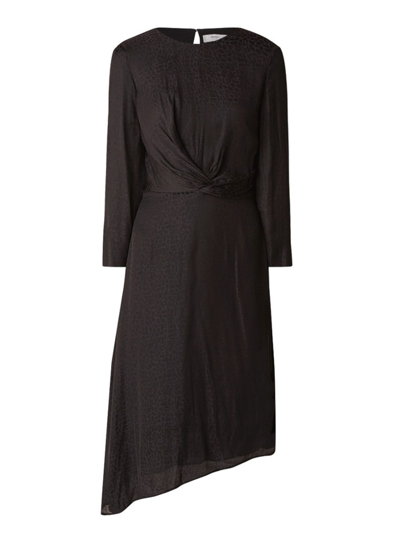 Mango Bilboa loose fit jurk met dessin en knoopdetail zwart