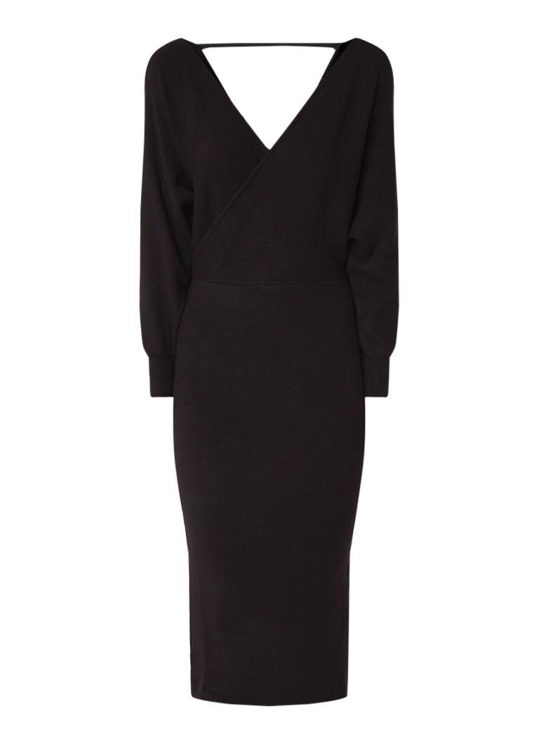 Mango Nessa fijngebreide maxi-jurk met overslag zwart