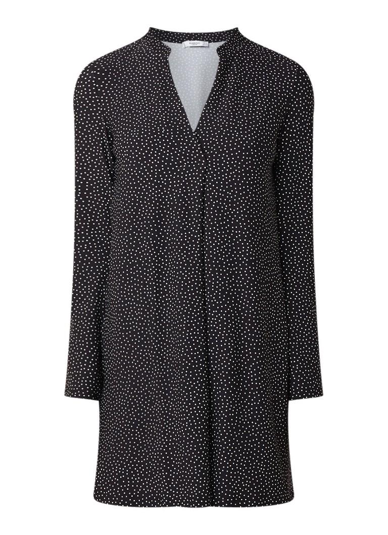 Mango Veldu A-lijn mini-jurk met dessin zwart