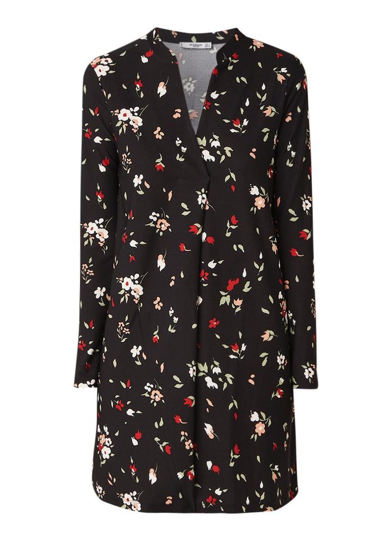 Mango Veldu A-lijn mini-jurk met dessin diepzwart