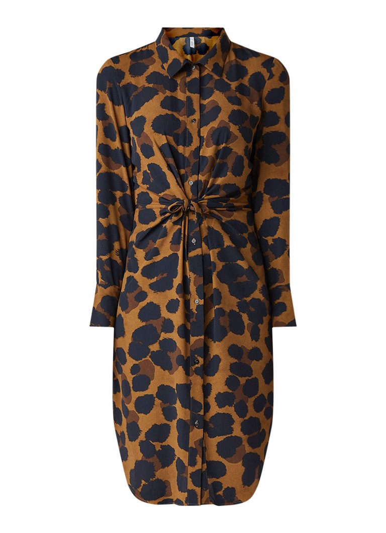 Mango Toky blouse-jurk met animaldessin en strikdetail bruin