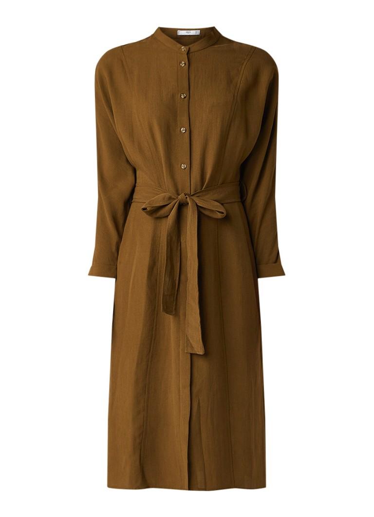 Mango Northe blousejurk met strikceintuur khaki