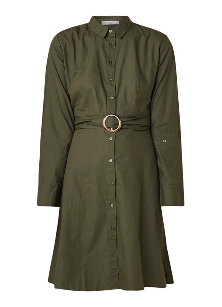 Mango Criss A-lijn blouse-jurk met ceintuur donkergroen