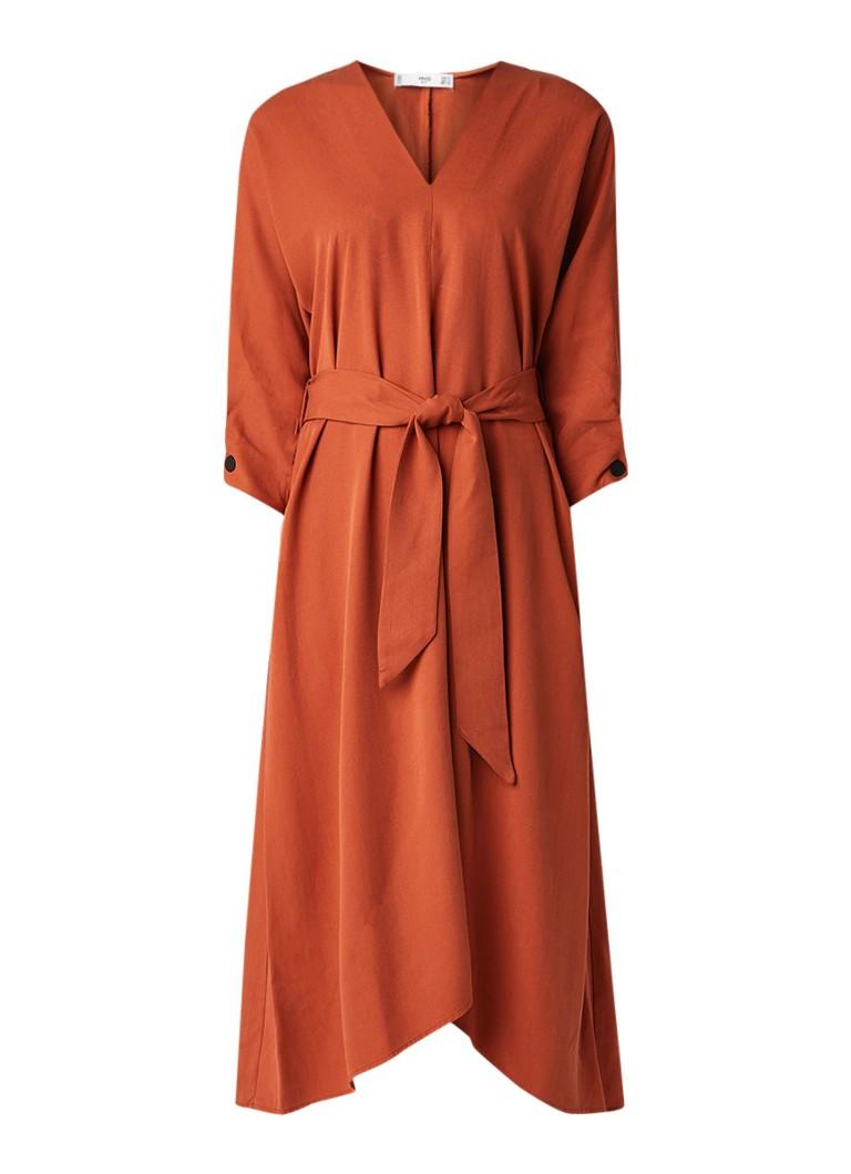 Mango Peonia midi-jurk van lyocell met strikceintuur oranje