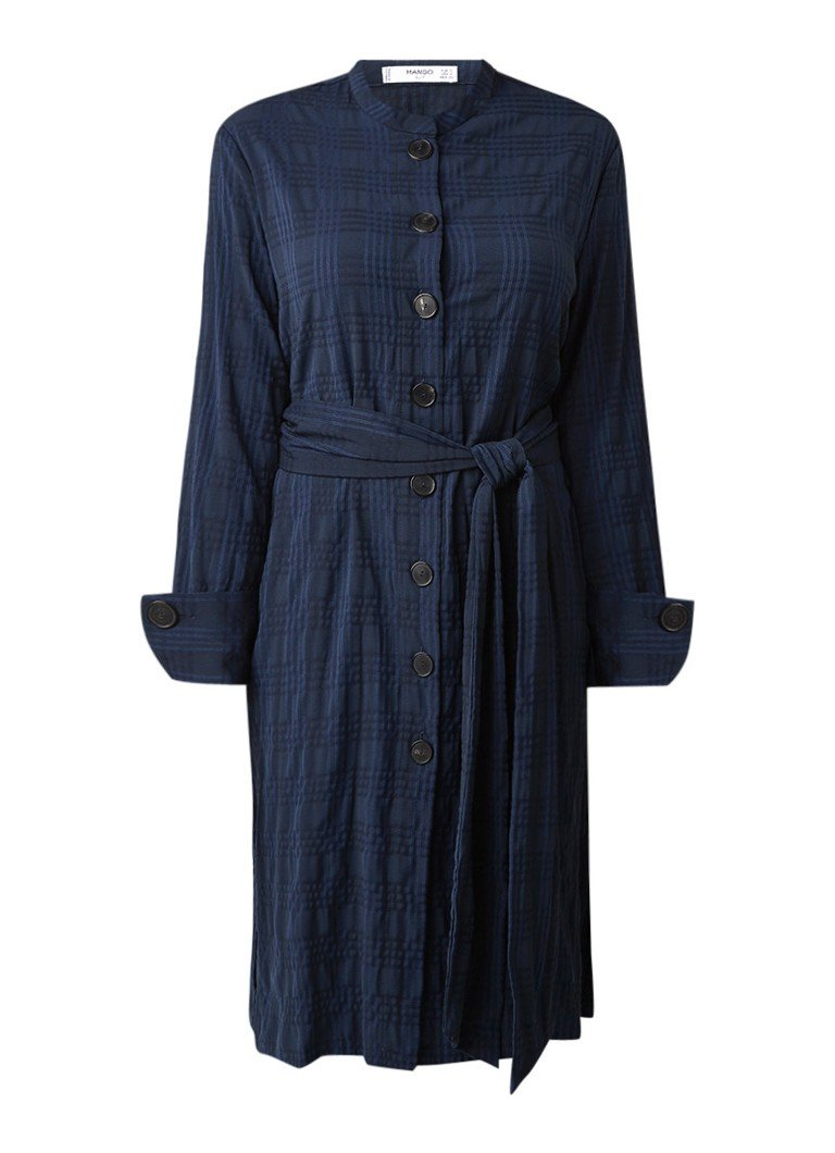Mango Lally A-lijn blousejurk met ceintuur en ruitdessin donkerblauw